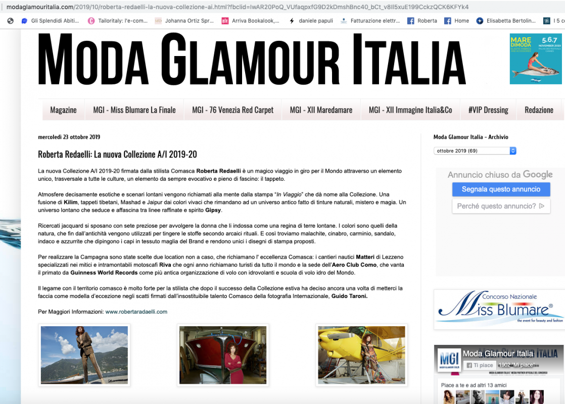 Moda Glmaour Italia 24th October 2019 Roberta Redaelli fall winter 2029 2020 In Viaggio