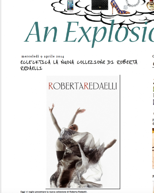 An explosion of fashion 9th April 2014 Roberta Redaelli ss Colpo di Fulmine virna toppi