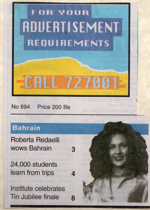 Bahrain Tribune 30th Jenuary 1999 Roberta Redaelli