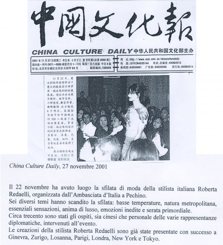 China Culture Daily 27th November 2001 Roberta Redaelli