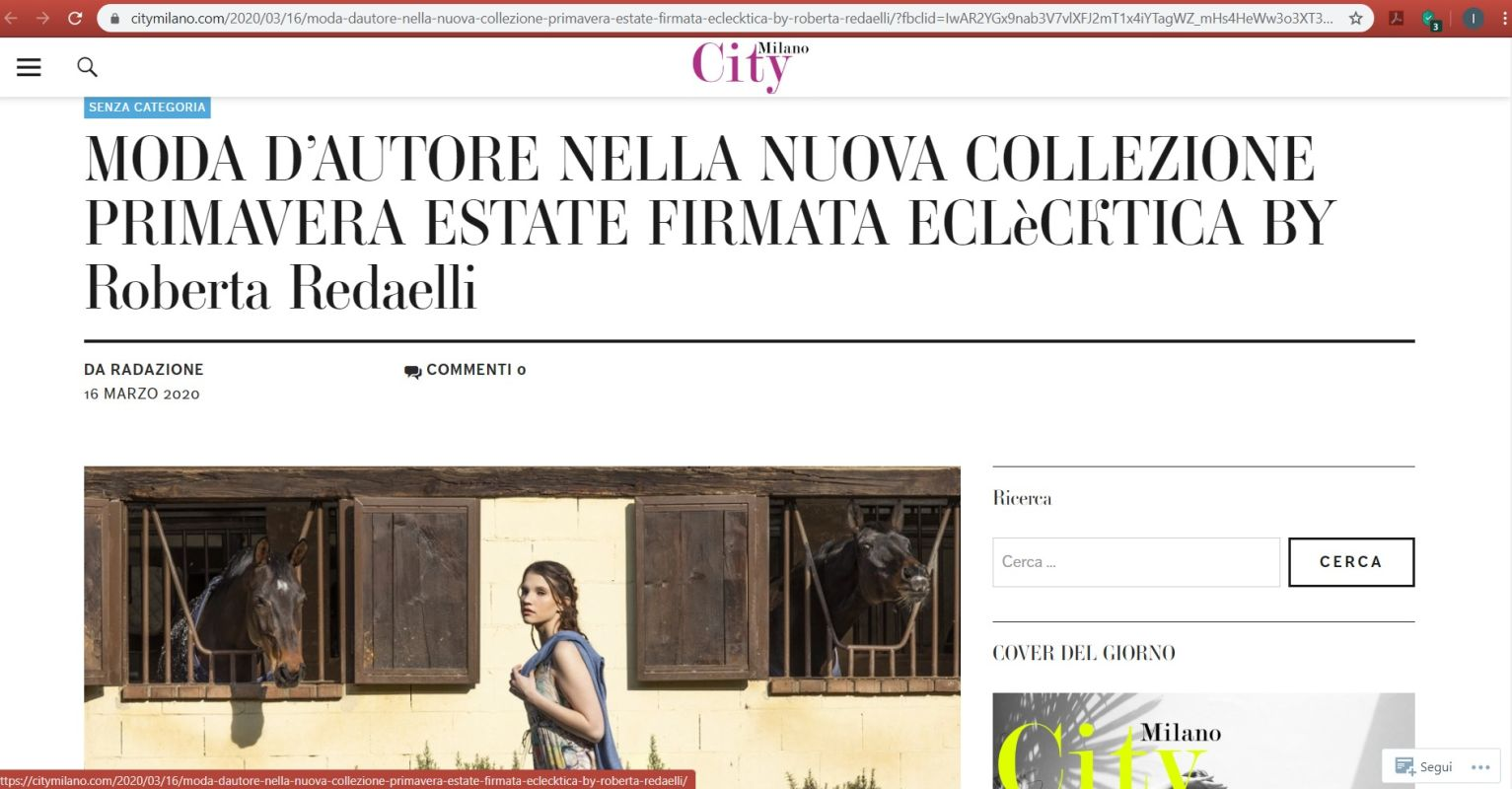 City Milano roberta redaelli and massimiliano miazzo spring summer 2020 spirito libero 17th march 2020
