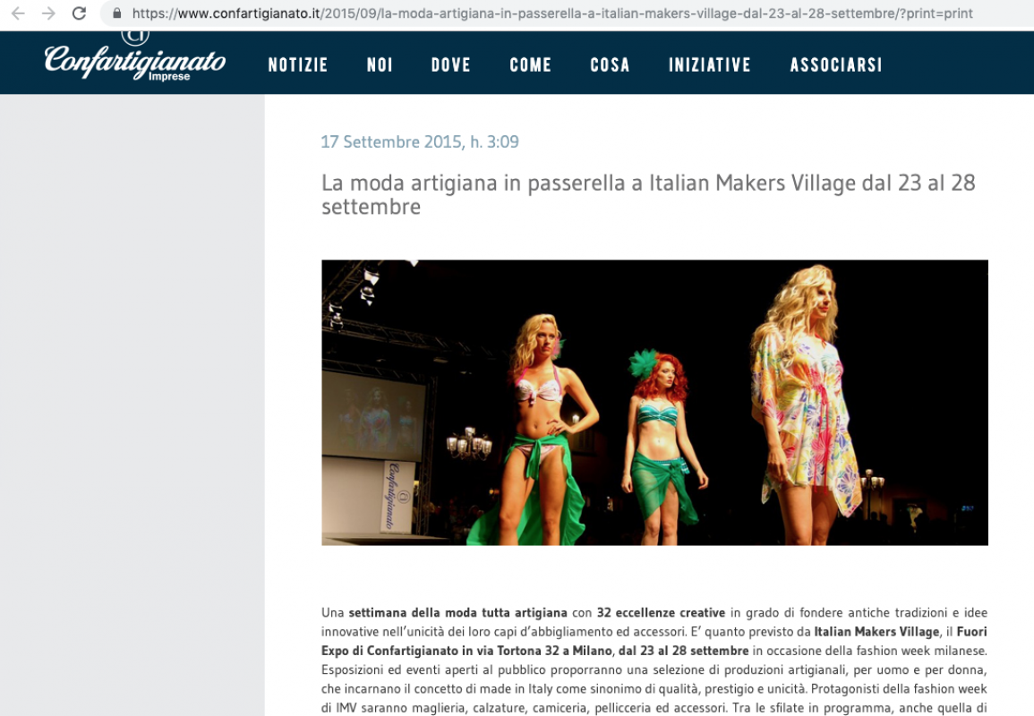 Confartigianato Imprese 17th September 2015 Roberta Redaelli in Milan for Italian Makers Village