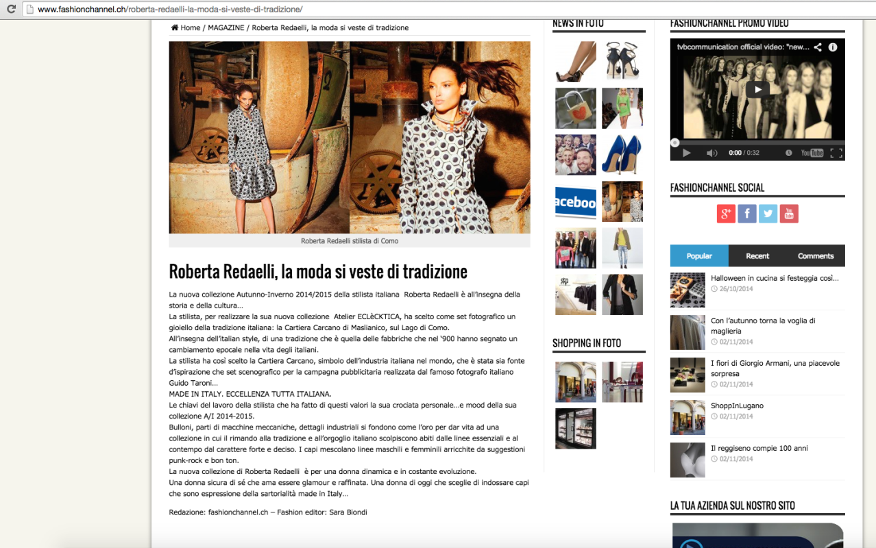 Fashion Channel 11th November 2014 Roberta Redaelli fw Tempi Moderni