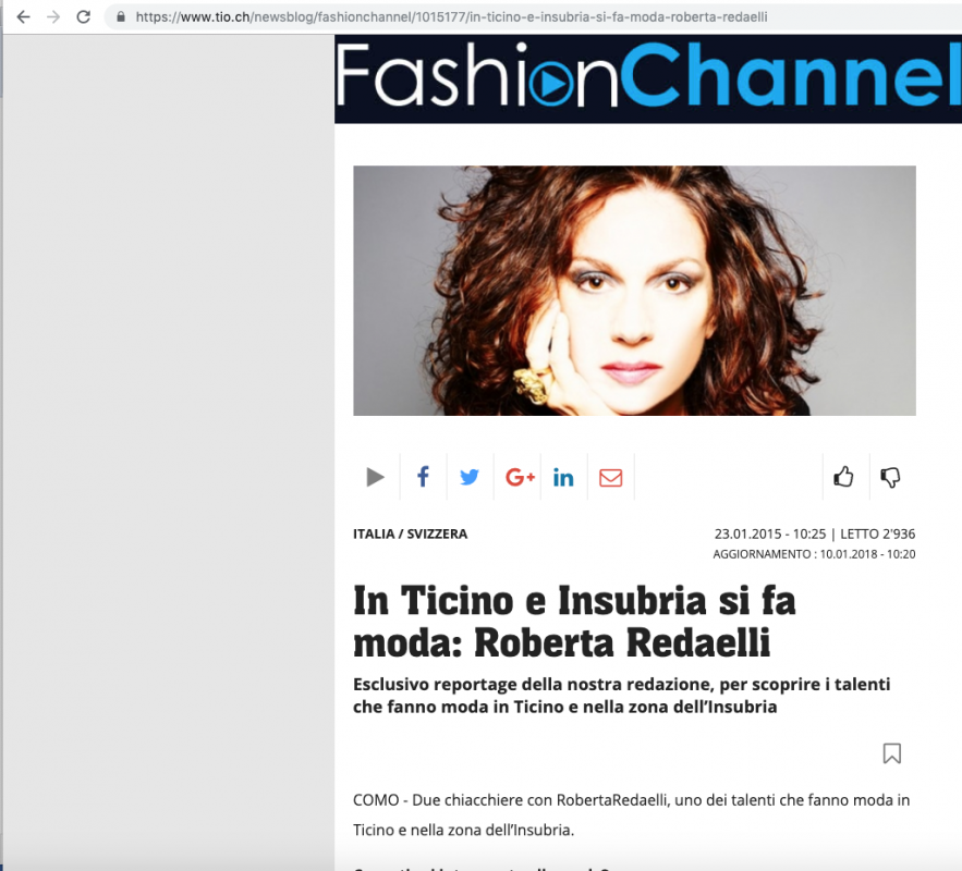 Fashion Channel 23rd Jenuary 2015 Roberta Redaelli interview