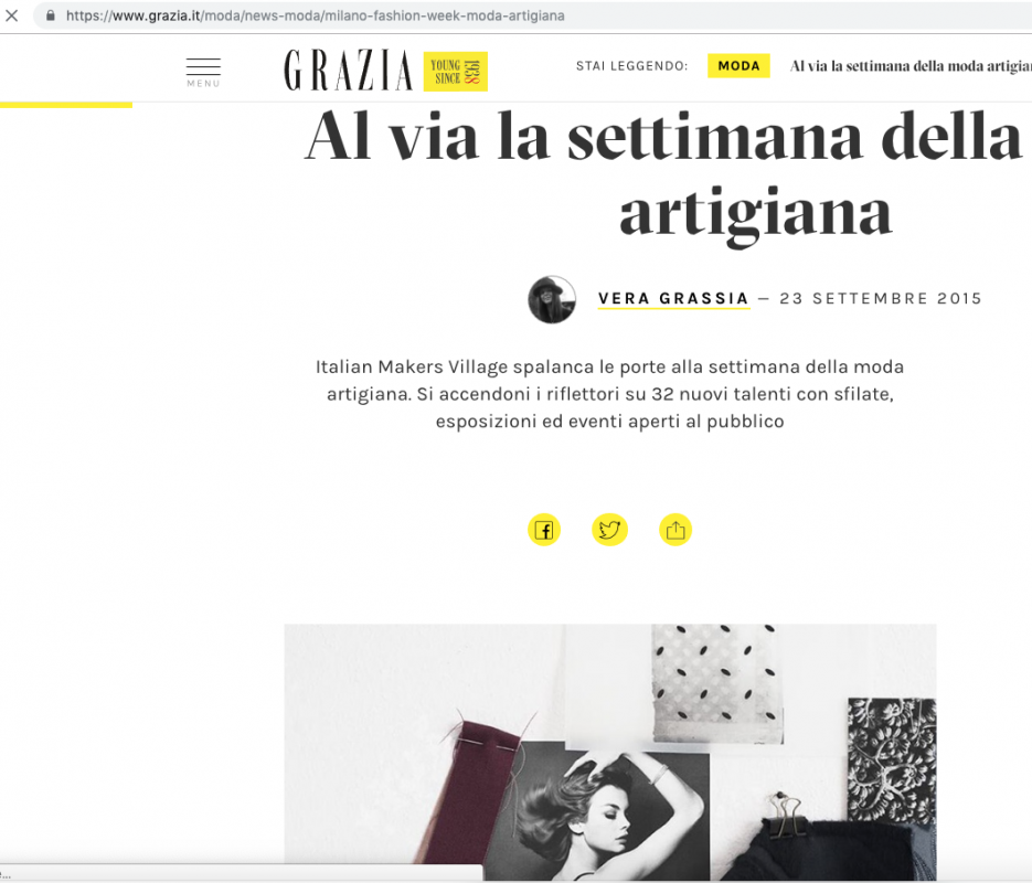 Grazia.it 23rd September 2015 Roberta Redaelli in Milan for Italian Makers Village