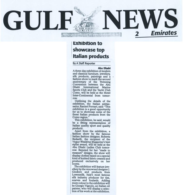 Gulf News 20th November 2000 Roberta Redaelli