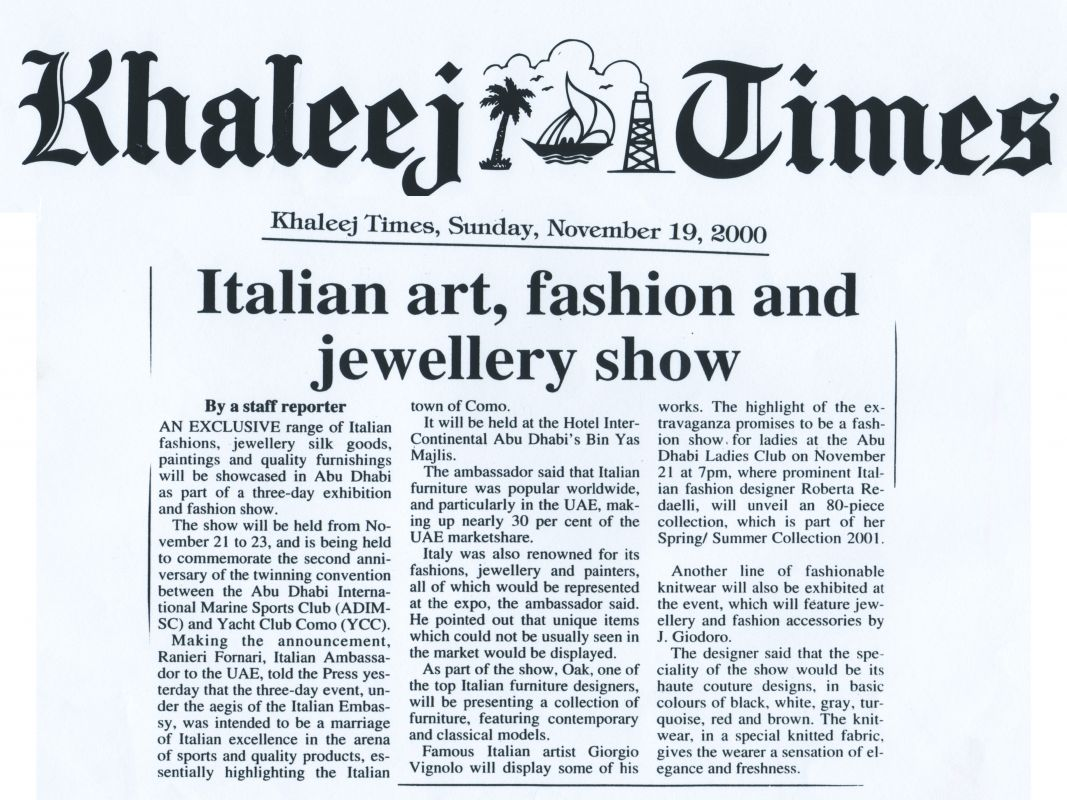 Khaleej Times 19th November 2000 Roberta Redaelli