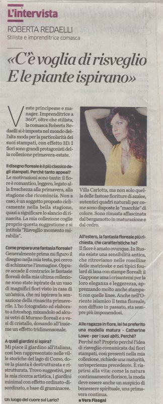 La Provincia di Como 5th May 2013 Roberta Redaelli interview