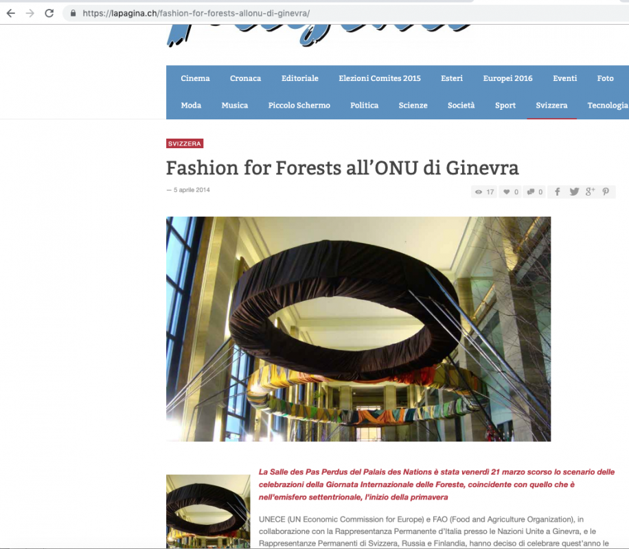 LaPagina.ch 4th April 2014 Roberta Redaelli at Onu in Geneva for Forest for Fashion