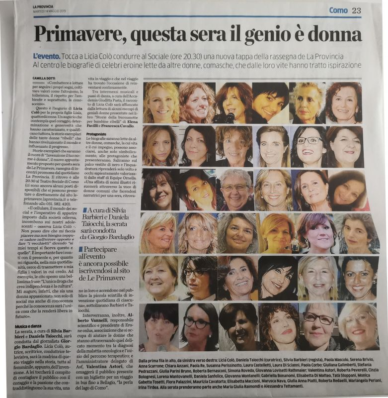 La Provincia di Como 14th May 2019 Roberta Redaelli Teatro Sociale Como event, invention woman is your name, trip with Licia Colò