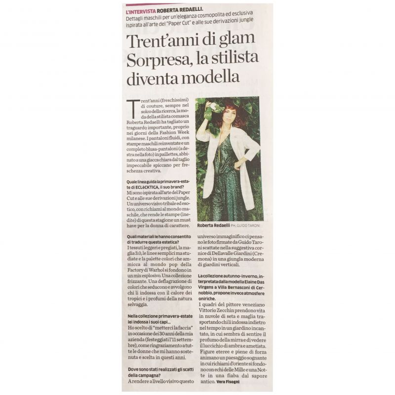 La Provincia di Como 30th September 2018 Roberta Redaelli