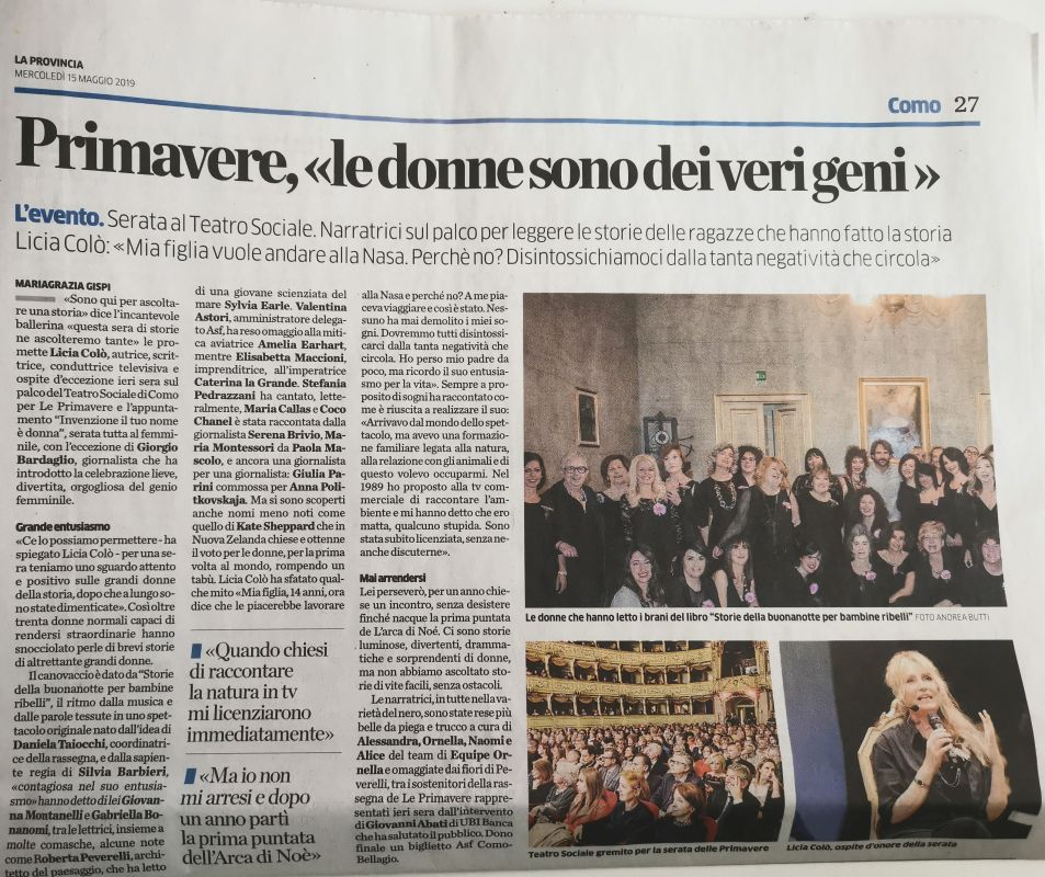 La provincia di Como 15th May 2019Roberta Redaelli Teatro Sociale Como event, invention woman is your name, trip with Licia Colò