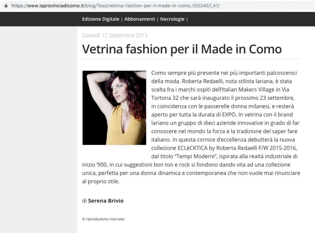 La provincia di Como 17th September 2015 Roberta Redaelli in Milan for Italian Makers Village