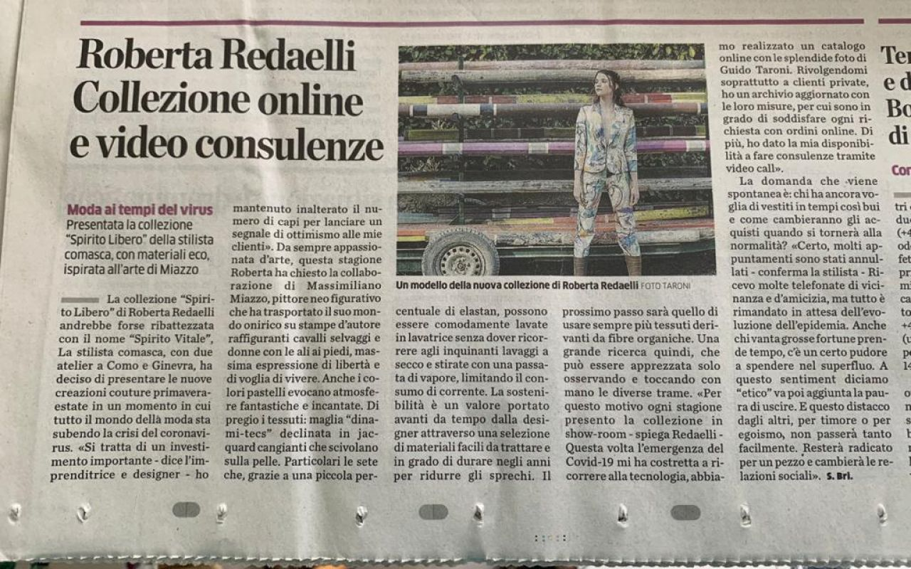 La Provincia di Como 20th March 2020 roberta redaelli and massimiliano miazzo sprimg summer 2020