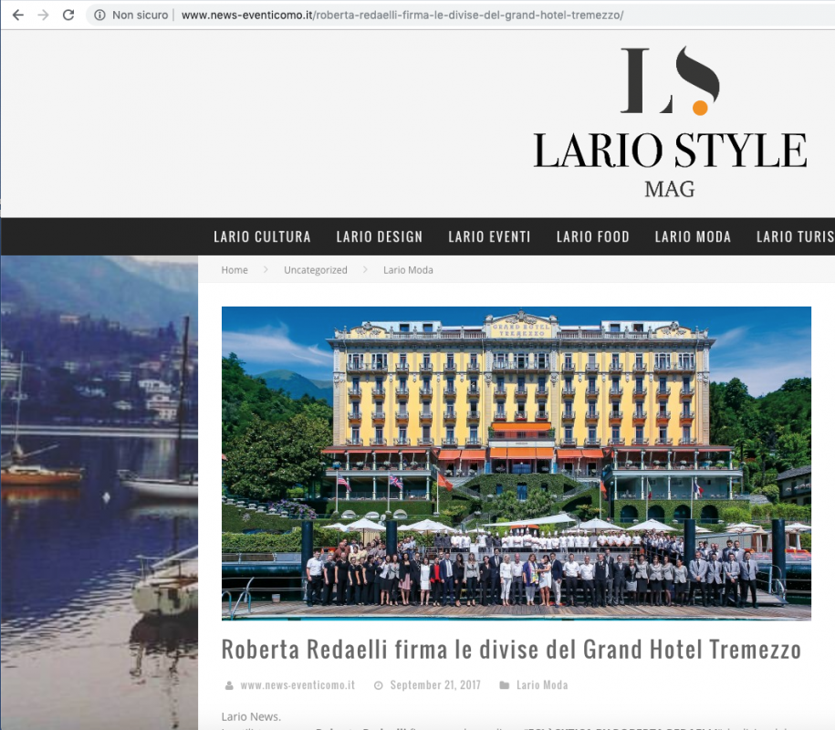 Lario Style Mag 21st September 2017 Roberta Redaelli signed the new uniforms for Grand Hotel Tremezzo