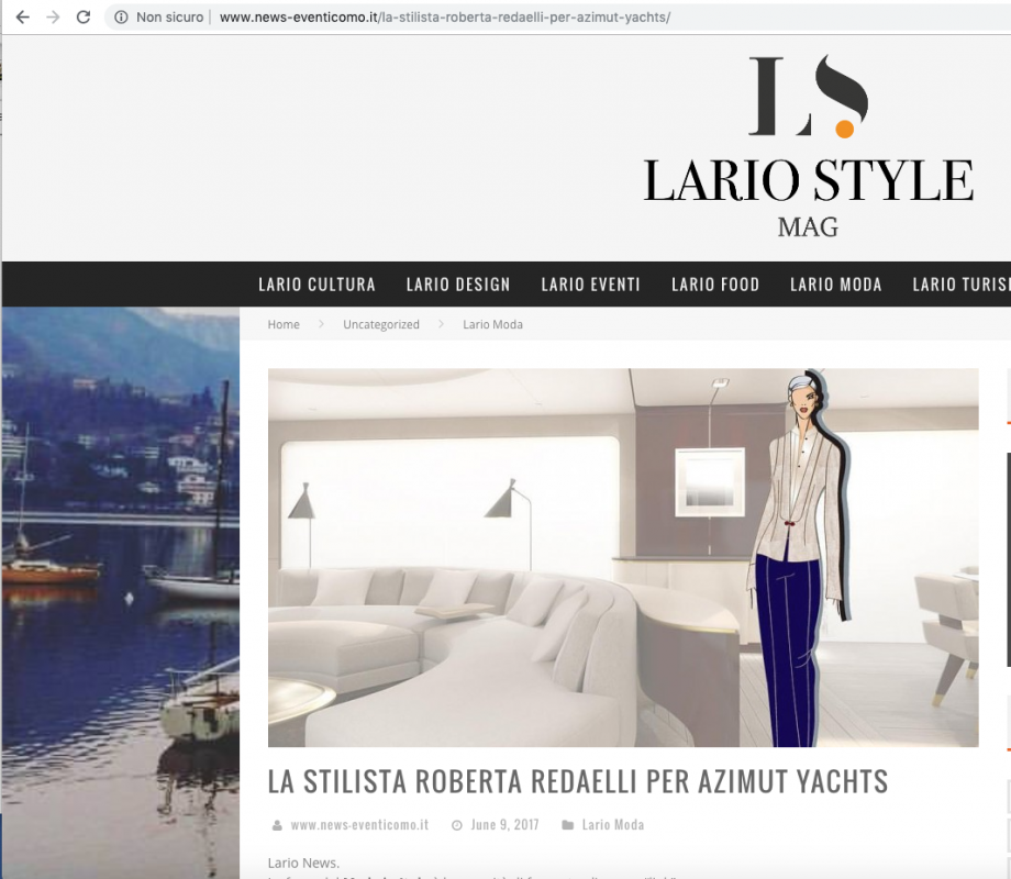 Lario Style Mag 9th June 2017 Roberta Redaelli signed uniforms for Azimut Yachts