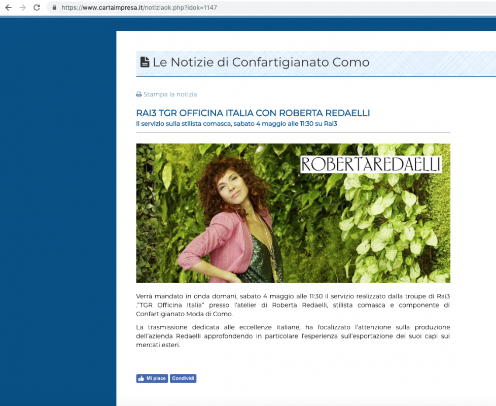 Le notizie di Confartigianato Como 3rd May 2019 Roberta Redaelli onTGR Officina Italia on Rai3 export