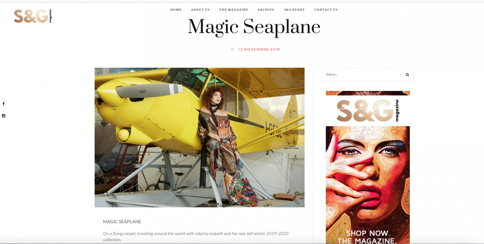 Magic seaplane Silver and gold magazine 12th november 2019 Roberta Redaelli fw 2019 2020  in viaggio