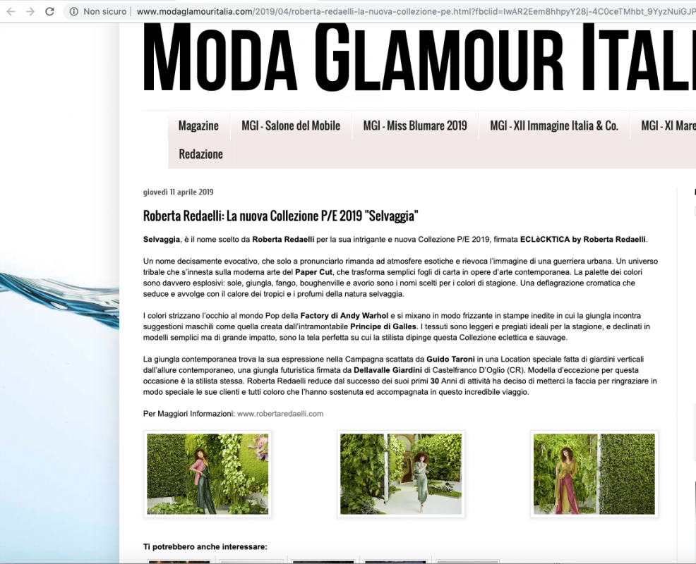 Moda Glamour Italia 11th April 2019 Roberta Redaelli ss Selvaggia