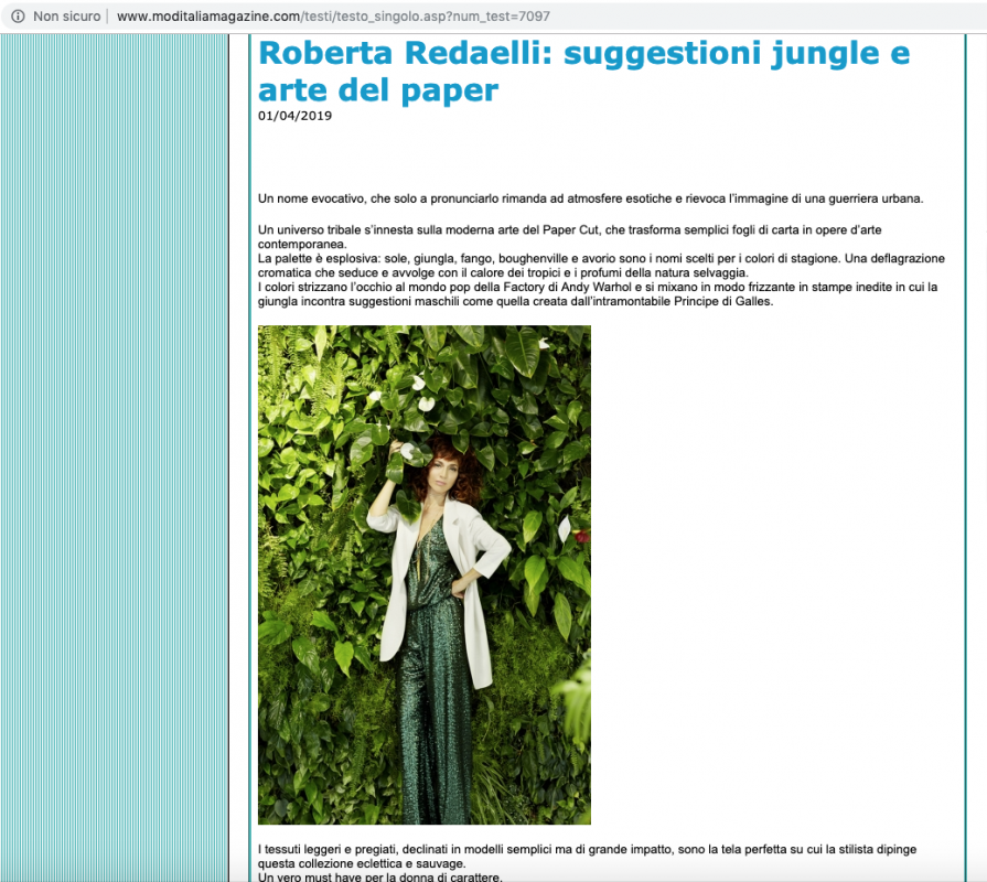 ModItalia Magazine 1st April 2019 Roberta Redaelli ss Selvaggia