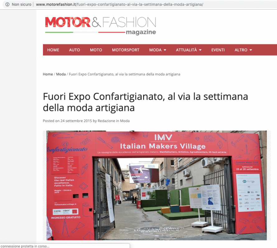 Motor&Fashion 24th September 2015 Roberta Redaelli in Milan for Italian Makers Village