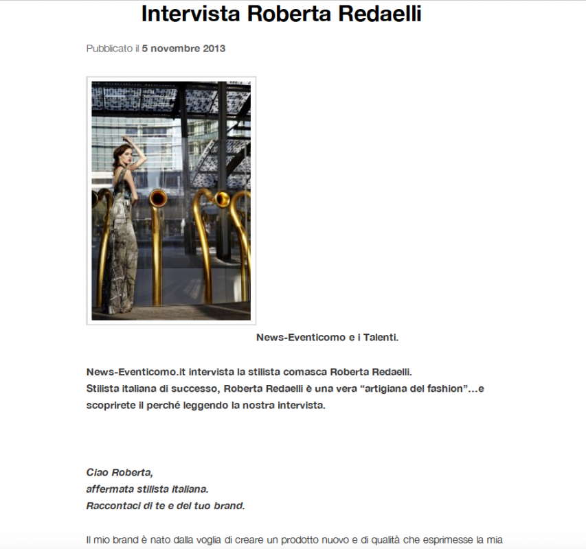 News EventiComo 5th November 2013 Roberta Redaelli interview