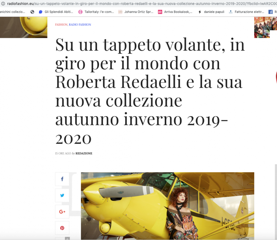Radio fashion 30th september 2019 Roberta Redaelli fall winter 2019-2020 collection in Viaggio
