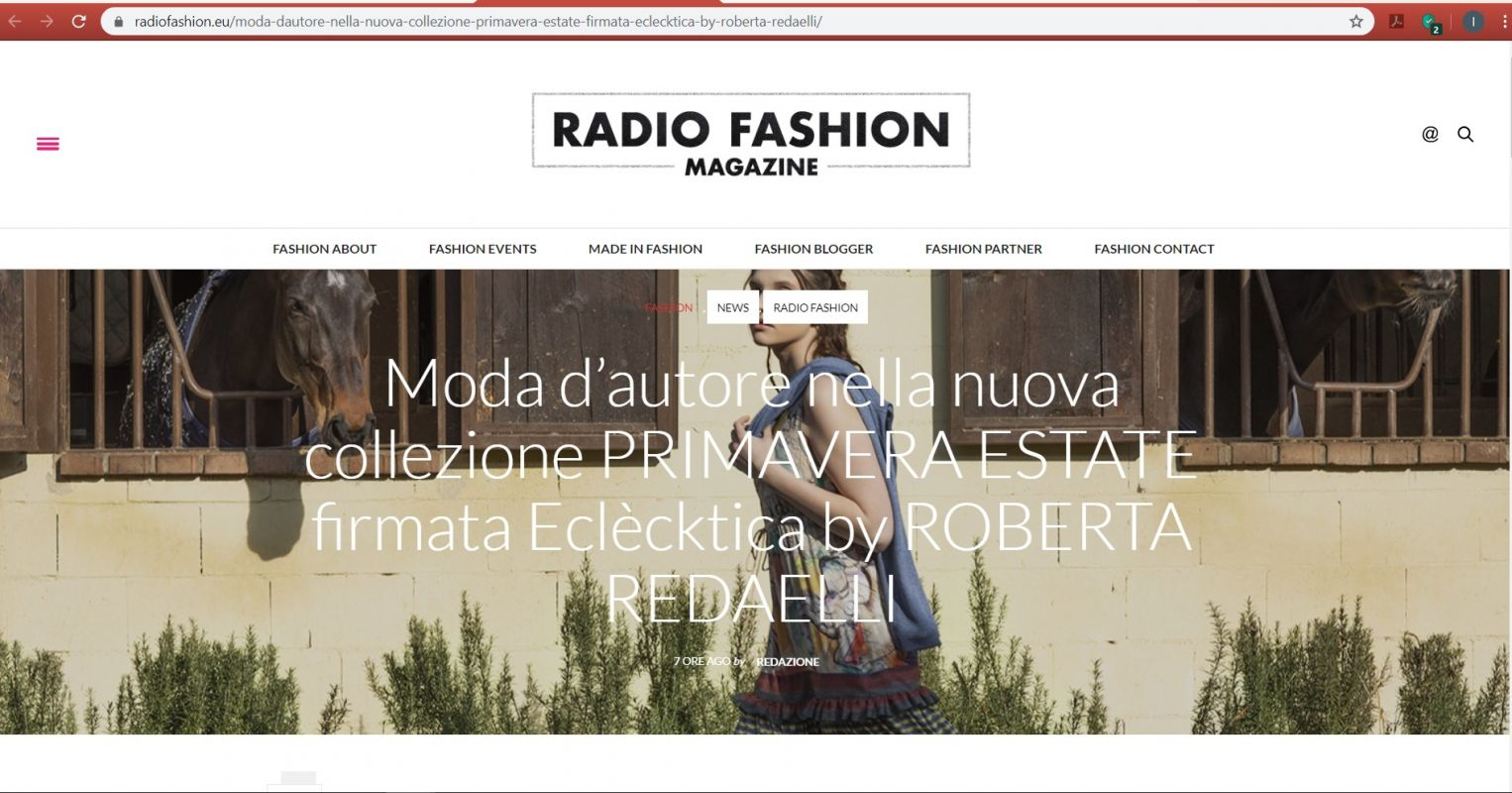 Radio Fashion Magazine 23th march 2020 roberta redaelli massimiliano miazzo spring summer 2020 spirito libero