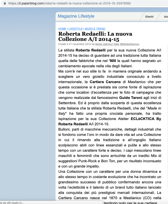 Paper Blog 21th November 2014 Roberta Redaelli fw Tempi Moderni