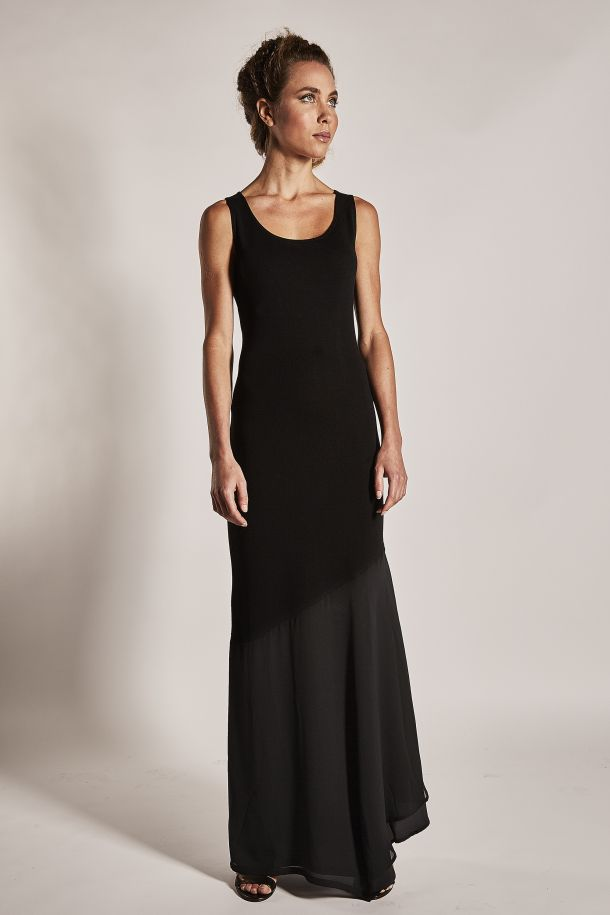 Roberta Redaelli Essential spring summer R149 long knitted dress with silk