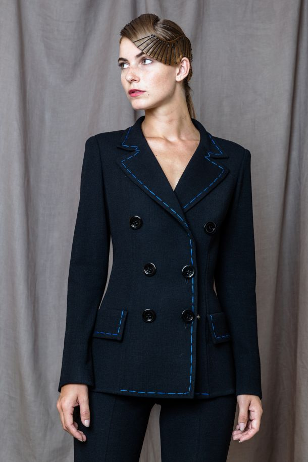 Roberta Redaelli fall winter 2020-2021 R1187 knitted doubled-breasted jacket with sitchingblack