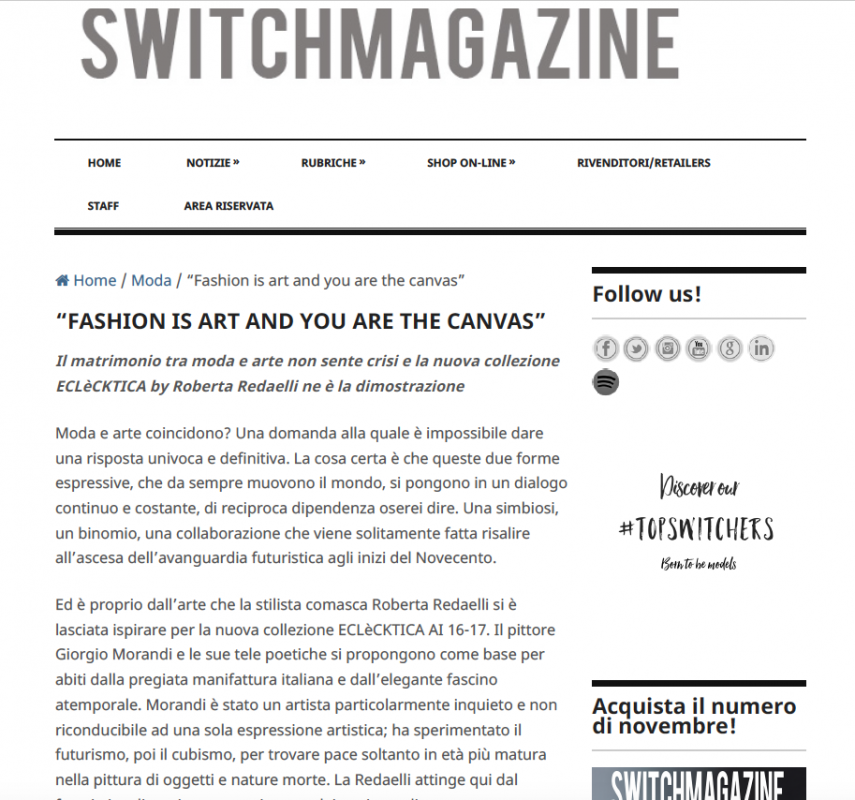 Switch Magazine 28th November 2016 Roberta Redaelli fw Contrasti poesia frenesia