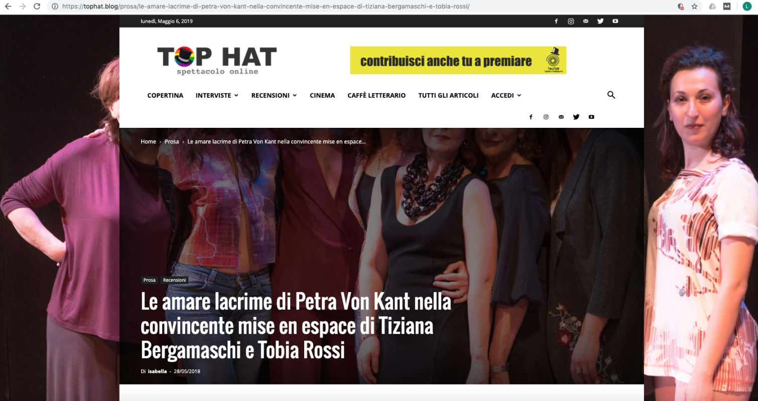 Top Hat blog 25th May 2018 Le Lacrime Amare di Petra von Kant at Teatro Libero Milan with Roberta Redaelli's clothes