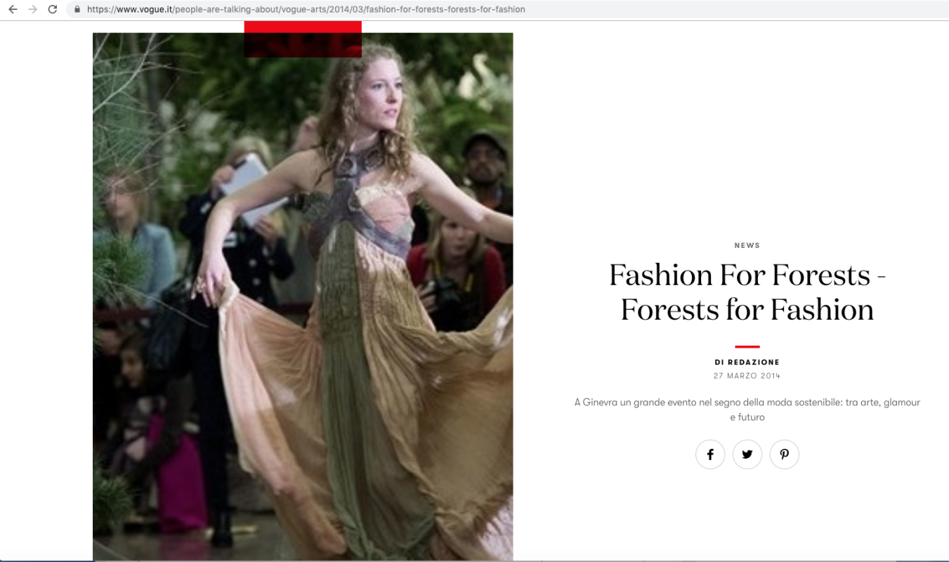 Vogue.it 27 marzo 2014 Roberta Redaelli all'Onu a Ginevra per Forest for Fashion