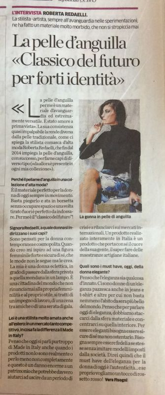 La Provincia di Como 5th October 2016 printed eel leather