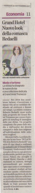 La Provincia di Como 22nd September 2017 Roberta Redaelli Grand Hotel Tremezzo