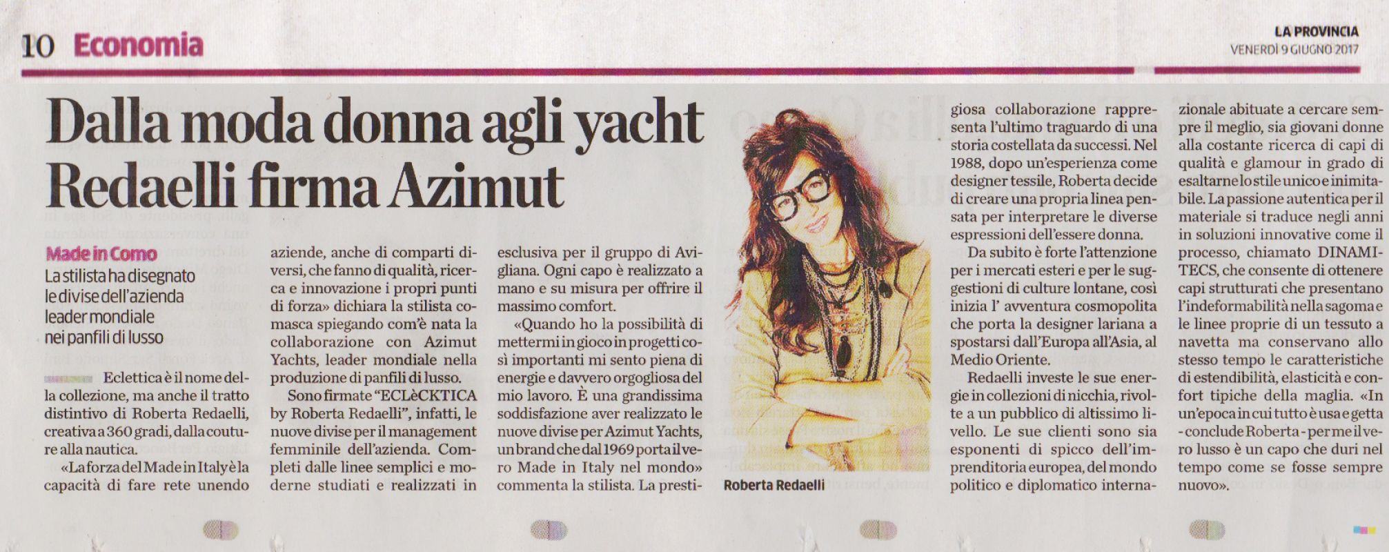La Provincia di Como 9th June 2017 Roberta Redaelli for Azimut Yachts