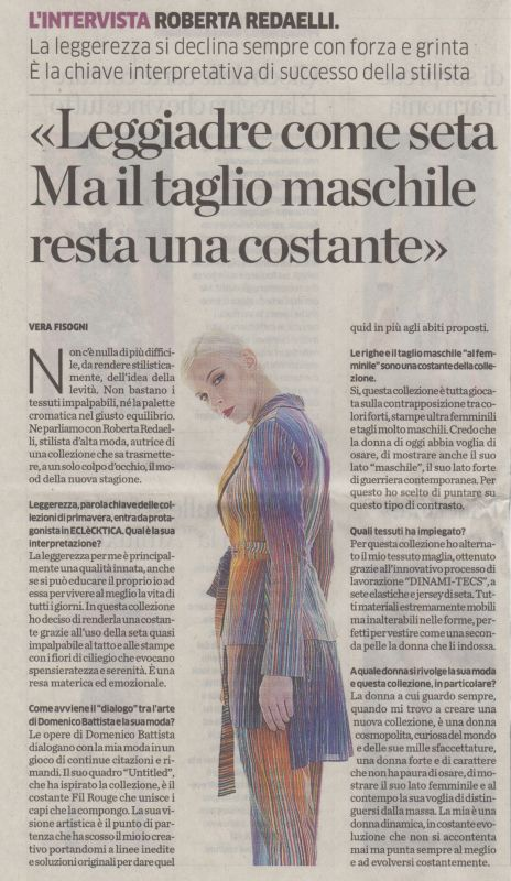 La Provincia 5th October 2017 Roberta Redaelli
